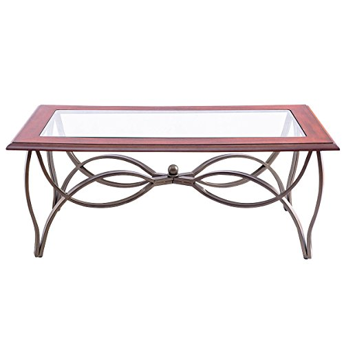 Tangkula Glass Coffee Table Set Occasional Cocktail Table Set Glass Top Coffee Table & 2 End Tables Set of 3 by Tangkula (Image #4)