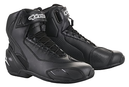 SP-1 v2 Vented Motorcycle Street Road Riding Shoe (44 EU, Black Black)