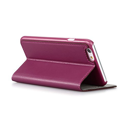 GGMM Kiss Plus-A6+ Genuine Leather Cover mit Screen Protector für Apple iPhone 6 Plus purple