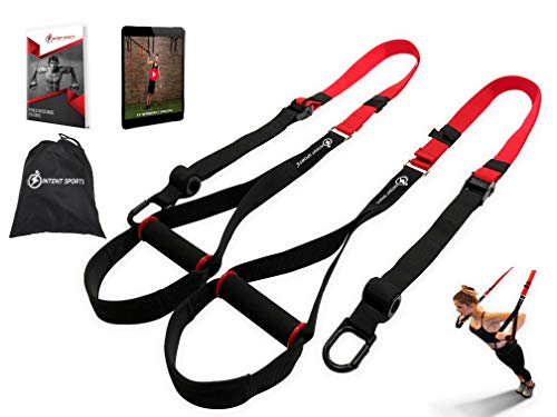 INTENT SPORTS Bodyweight Fitness Resistance Trainer Kit with Pro Straps for Door Pull up Bar Anchor Point Lean Light Durable for Complete Body Workouts EBook amp 77 Workout Videos Patent Pending