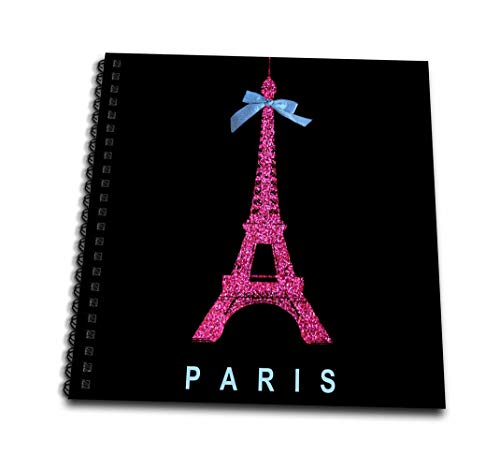 3dRose Hot Pink Paris Eiffel Tower from France with Girly Blue Ribbon Bow-Black Stylish Modern France-Mini Notepad, 4 by 4