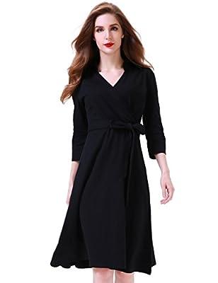 Aphratti Women's 3/4 Sleeve Lapel Collar V Neck Faux Wrap Casual Cocktail Dress