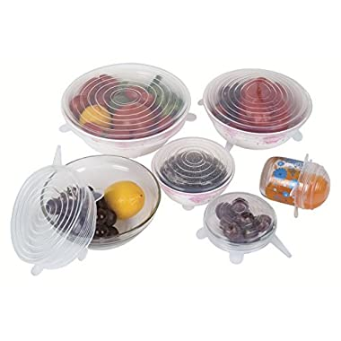 GAINWELL Silicone Stretch Lids, Set of 6pcs - Silicone Lids for Bowls,Cups,Containers and Mugs of all Shapes