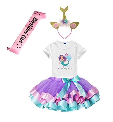 Girls Birthday Tutu Skirts Dress with Mermaid Birthday Girl Tshirt, Headband, Satin Sash (Lavender, 5-6 Years)