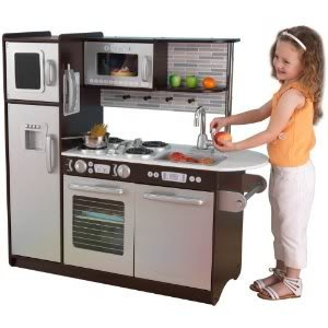 innovative kidkraft uptown espresso kitchen 53260 with convenient storage space above the sink toy - Kidkraft Espresso Kitchen