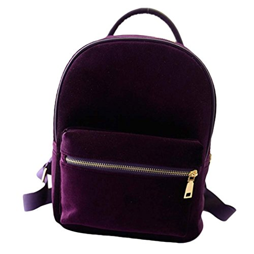 Gillberry Women Gold Velvet Small Rucksack Backpack School Book Shoulder Bag (Purple)