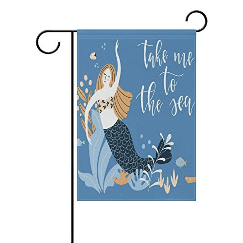 Johnnie Tropical Ocean Sea Animal Mermaid Garden Flag 12 X 18 Inches, Quote Double Sided Seasonal Outdoor Flag and Best for Party Yard Home Decor]()