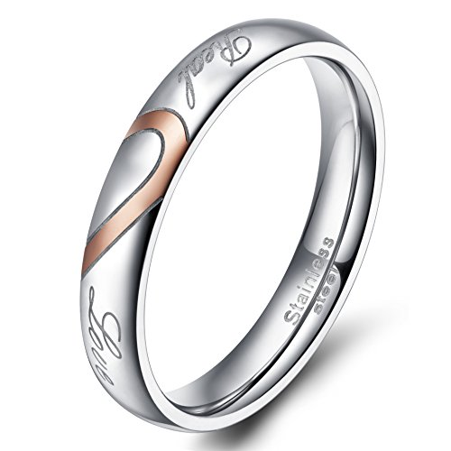 TIGRADE Stainless Steel Real Ring Love Heart Band Valentine Wedding Engagement Promise Couples Band (4mm,5)