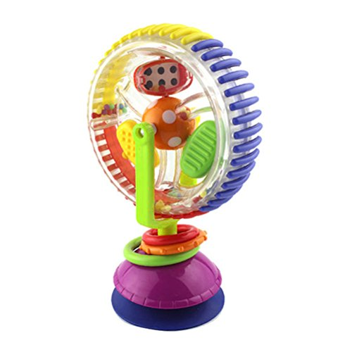 YeahiBaby Baby Rattle Toy Rotating Ferris Wheel Tricolor Windmill Toys Baby Chair Stroller Sucker Toys with Suction Base