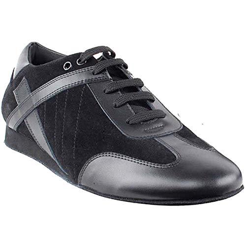 (Men's Ballroom Latin Salsa Sneaker Dance Shoes Leather Black SERO106BBXEB Comfortable - Very Fine 9 M US [Bundle of)