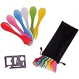 12 Pack Sporks,Durable & BPA Free Tritan Sporks,Spoon Fork & Knife Combo Utensils,6 Colors,Best Flatware Mess Kit for…