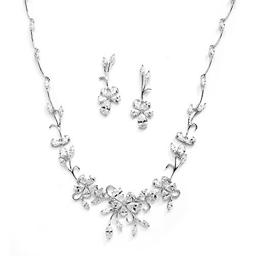 Mariell Silver Platinum Vine CZ Necklace and Earrings Jewelry Set for Brides, Weddings & Evening Wear