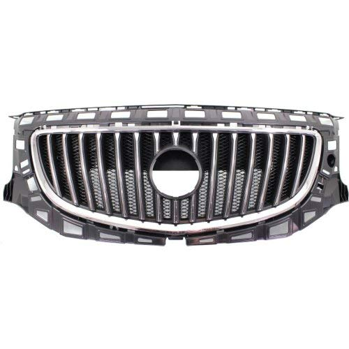 Buick Regal Bumper Front - Grille Assembly Compatible with Buick Regal 2011-2013 Plastic Chrome Shell/Painted-Black Insert Base/CXL Models