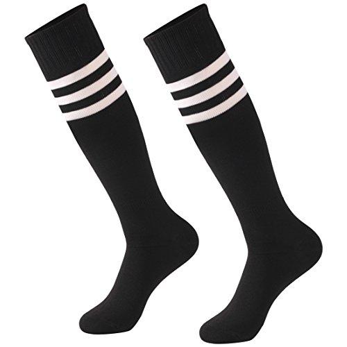 Calbom Soccer Team Socks Stripe Back to School Gift, Unisex Cosplay Knee High Athletic Stretch Rugby Sports Hosiery Socks 2 Pack ()