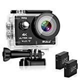 "iRULU Action Camera 4K 16MP WiFi Adjustable View Angle Sports Camera with 2"" IPS Screen 100 Feet Waterproof Camera Remote Control 2 Batteries Abundant Mounting Accessories Kit and Red Filter"