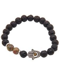 JY Jewelry® Black Lava stone Beads Silver Alloy hamsa hand Bracelets