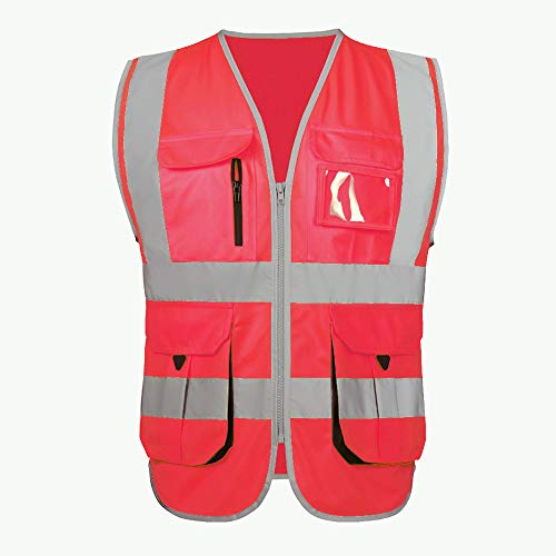 (High Visibility Red Safety Vest Reflective With Pockets for Men and Women| Hi Vis Vest Construction Workwear Uniforms | Unisex (XL, Red))