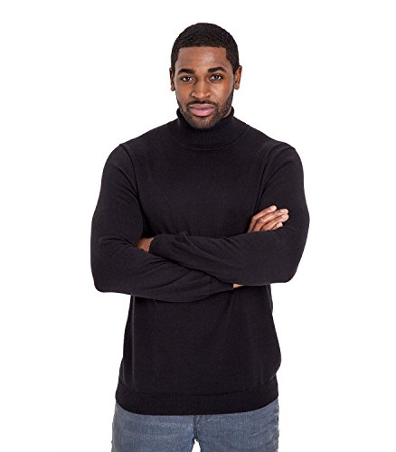 WoolOvers Rollkragenpullover aus Baumwolle-Seide für Herren Black, M
