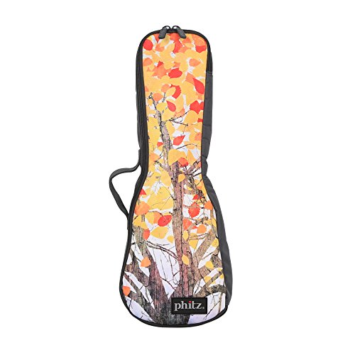 Concert Ukulele Case—Padded, Soft Carrying Gig Bag with Large Back Strap, Comfortably Tote and Protect your Uke On-The-Go, Yellow Leaves by Phitz by Phitz
