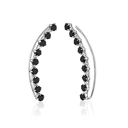 Chuvora 925 Sterling Silver Black Crystal Glass Stones Minimalist No Pierce Ear Pin Earrings, Set of Two (2)