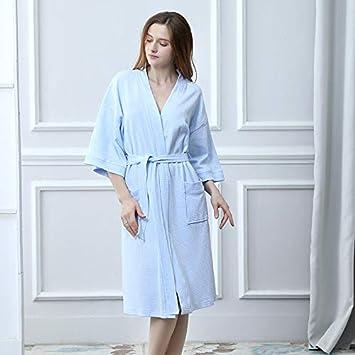 LanTa Home Pijamas nuevos de Verano Camisas Finas de Punto de algodón Batas de baño de Confort Casual (Color : Sky Blue, Size : XL): Amazon.es: Hogar