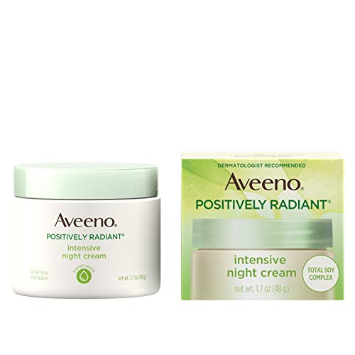 Aveeno Positively Radiant Intensive Moisturizing Face & Neck Night Cream for Tone & Texture, Total Soy Complex & Vitamin B3, Oil-Free, & Hypoallergenic, 1.7 oz