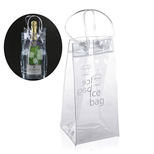 (Ice Bag - Nuolux Clear Transparent PVC Champagne Wine Pouch Cooler Bag with Handle)