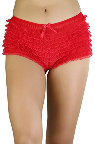 ToBeInStyle Women's Micromesh Lace Ruffle Tanga Shorts - Red - One -