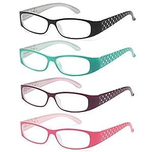 ALTEC VISION Pack of 4 Pattern Color Frame Readers Spring Hinge Reading Glasses for Women +2.00