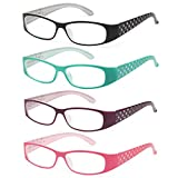 ALTEC VISION 4 Pack Cute Readers Spring Loaded Hinge Reading Glasses - 1.50x