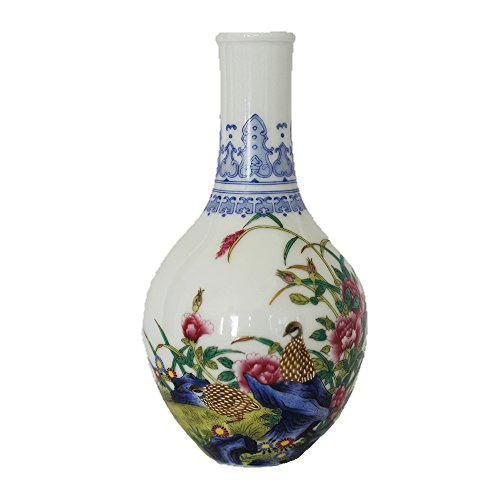 HSRT Chinese Antique Elegant Handmade Porcelain Enamel Flowers Birds Poem Vase