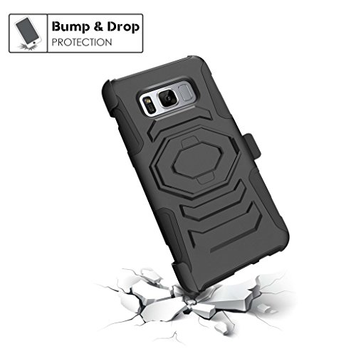 TurtleArmor | Samsung Galaxy S8 Active Case | G892 [Octo Guard] Dual Layer Case Holster Belt Clip Sturdy Kickstand Cover -