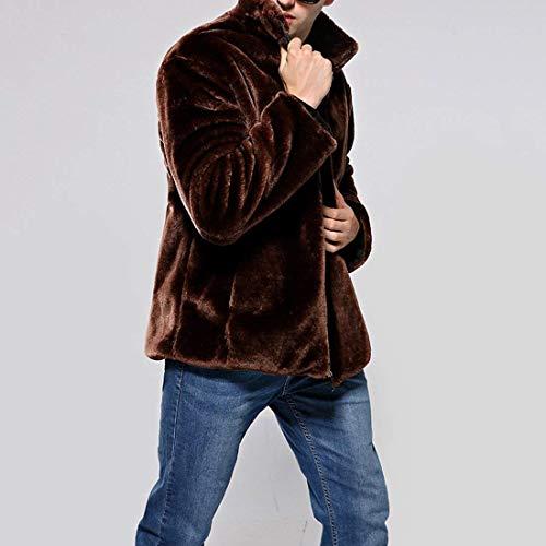 Huixin Coat Jacket Braun Apparel Collar Stand Coat Warm Coat Coat Fur Fur Jacket Fur Men's Faux Winter Jacket Outwear FwrqZUTF