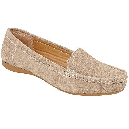 Boutique Shoes Suede Faux Loafers Fantasia Heel Taupe On Plain Ladies Slip Low Moccasins Smart Daps dXOww4nq