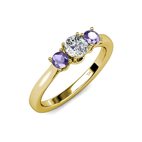 Iolite and Diamond (SI2-I1, G-H) Three Stone Ring 0.53 ct tw in 14K Yellow Gold.size 6.5 ()