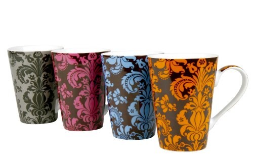 Konitz Rocaille 13-Ounce Mugs, Set of 4, Assorted Colors