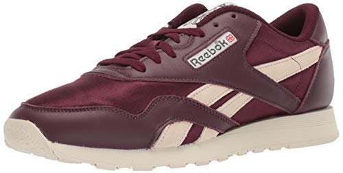 Reebok Men's Classic Nylon Sneaker, Maroon/Paper White/True Grey, 3 M US