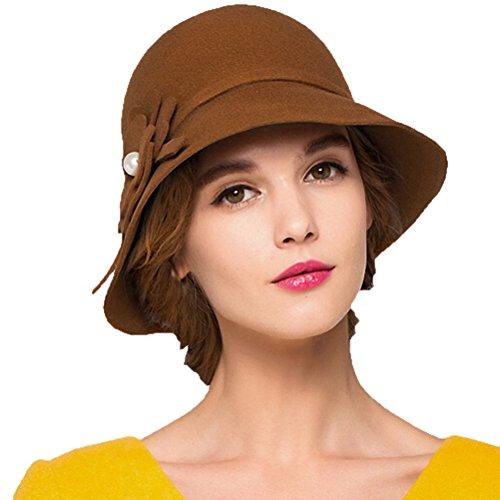 "Maitoseâ""¢ Women's Pearl Flowers Wool Felt Church Bowler Hats Orange"