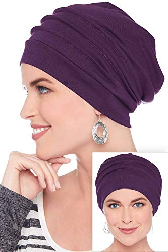 Slouchy Snood-Caps for Women with Chemo Cancer Hair Loss Plum]()