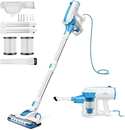 MOOSOO Vacuum Cleaner, 4 in 1 Stick Vacuum 17000pa Powerful Suction, with LED Electric Brush Large-Capacity Dust Cup for Hardwood Floor Corded Vacuum with 2Pcs HEPA D601