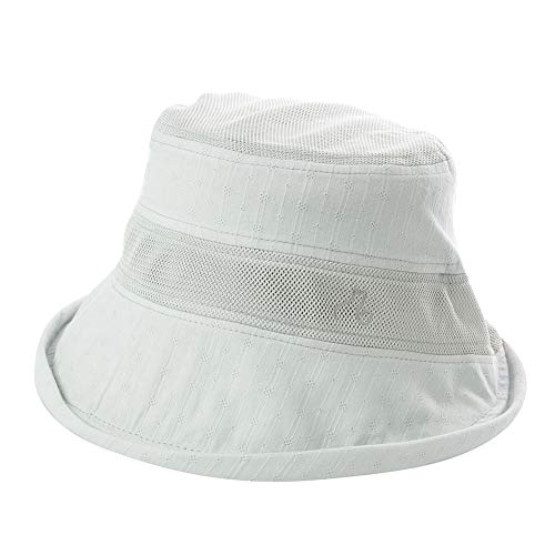 Comhats Summer Beach Bucket Hat for Women Striped Breathable Mesh Travel Hiking Wired Brim Fashion Fishing Outdoors Foldable ()