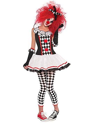 NonEcho Women's Halloween Costume Harlequin Clown Outfit Kit, Clown Wig, Clown Nose
