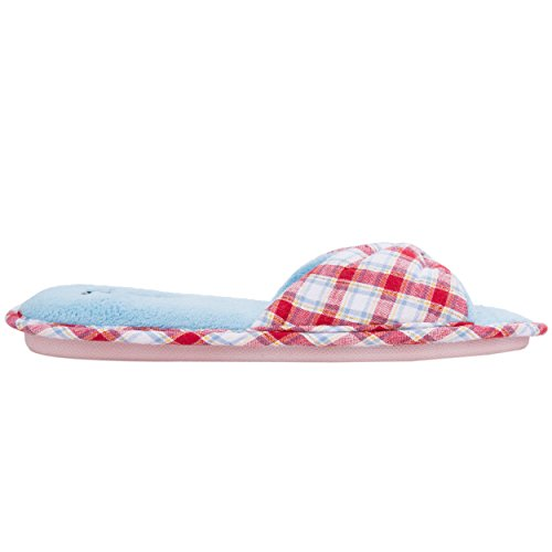Aerusi Mujer Cozy Slide Pantuflas peluches Ultra ligero suave blanda para casa/interior Rojo - Rouge/Bleu