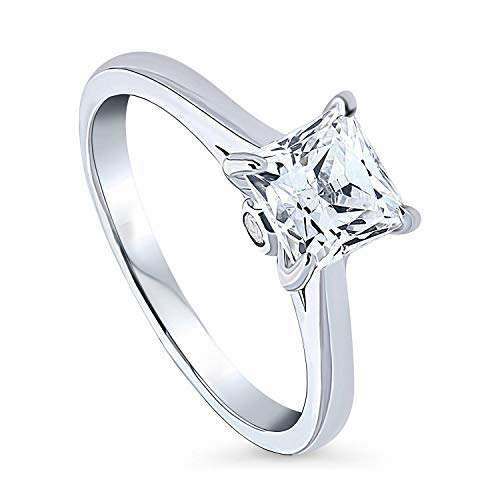 BERRICLE Rhodium Plated Sterling Silver Solitaire Promise Engagement Ring Made with Swarovski Zirconia Princess Cut 1.3 CTW Size 8
