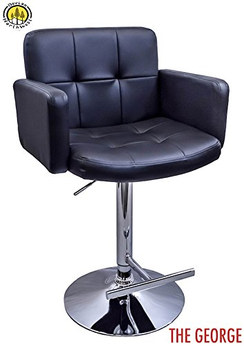 DevLon NorthWest PU Leather Bar Stool Modern Swivel Hydraulic Dining Kitchen Chair BLACK (Breakfast Bar Sale Stools For)