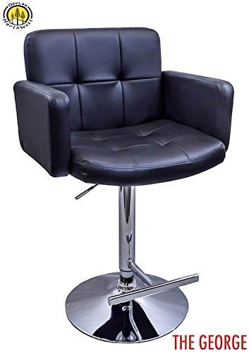 DevLon NorthWest PU Leather Bar Stool Modern Swivel Hydraulic Dining Kitchen Chair BLACK (Bar Sale Breakfast For Stools)