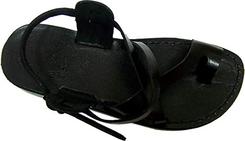 Holy Land Market Unisex Genuine Leather Biblical Sandals (Jesus - Yashua) Black Style I - 39 M EU