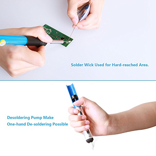 Soldering Iron Kit Electronics, 16-in-1, 60W Adjustable Temperature Soldering Iron, 5pcs Soldering Iron Tips, Solder, Rosin, Solder Wick, Stand and Other Soldering Kits in Portable Toolbox by Tabiger (Image #2)