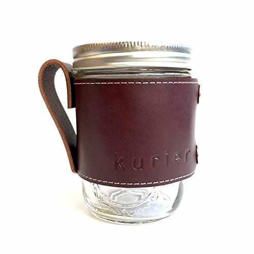 Kurier WINE red removable full grain Leather Camp Mug / glass mason ball canning jar mug travel coffee cup with handle handmade in USA 16 oz. glass jar - Glasses Maine Portland
