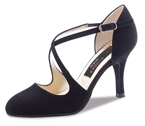 Nueva Epoca-Tango/Salsa Femme Chaussures de Danse Serena-Suède noir-8cm